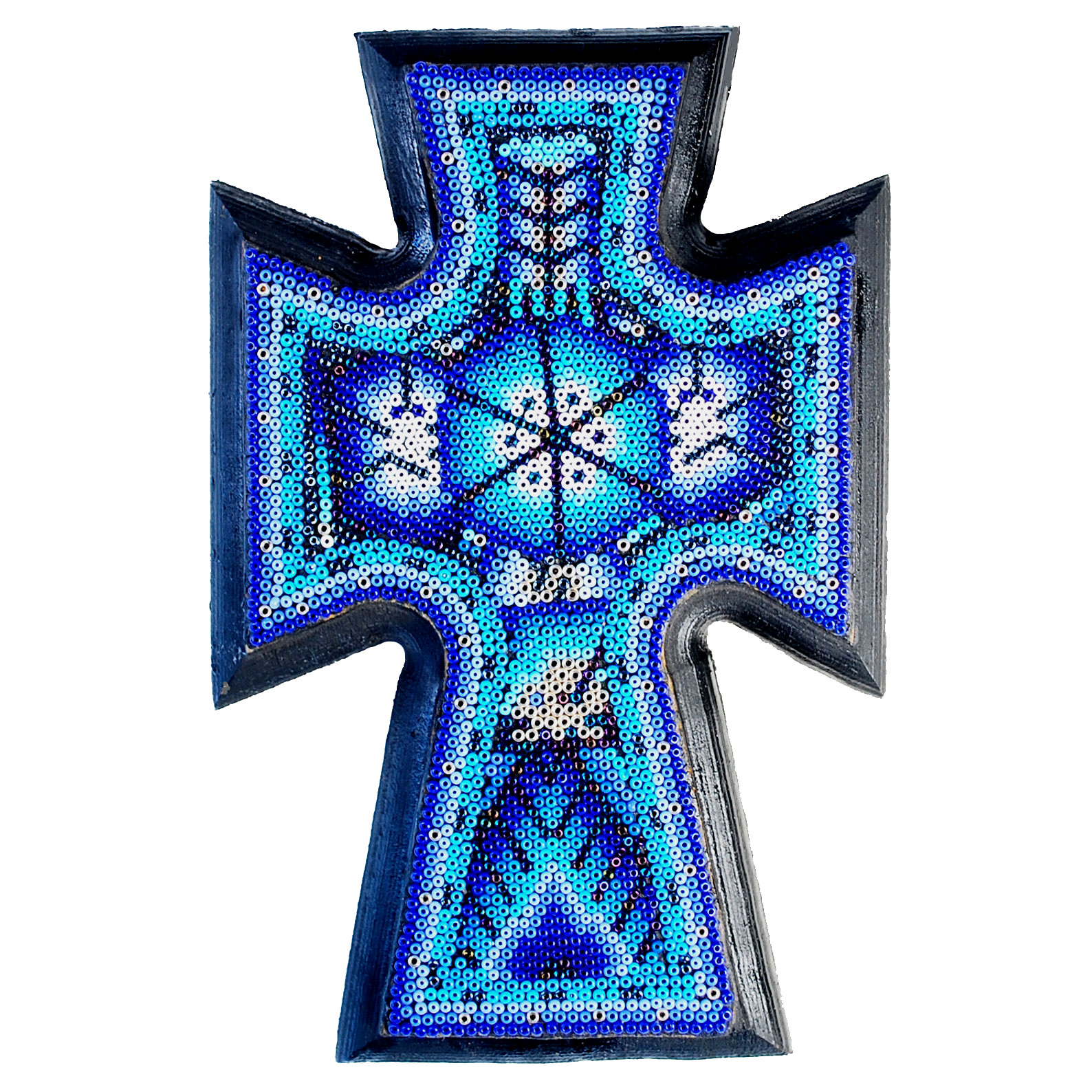 Huichol Indian Beaded Cross In Blue, Silver & White