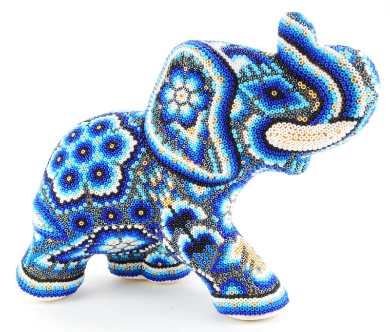 Huichol Indian Beaded Elephant In Blue, White & Gold With